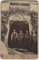 Odd Image of Angry Victorian Workers in Floral Tribute Cabinet Card