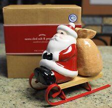 New Pottery Barn Holiday Christmas SANTA SLED Salt & Pepper Shaker Set