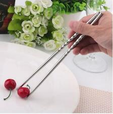 2 Pairs Stainless Steel Chopsticks New Silver Non-slip Chinese Chop Sticks