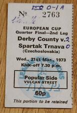 Ticket for collector EC Derby County - Spartak Trnava 1973 England Slovakia