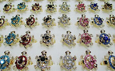 Wholesale Mix 5Pcs Big Animal Sea Turtle Gold P Rhinestone Rings Sexy Party Gift