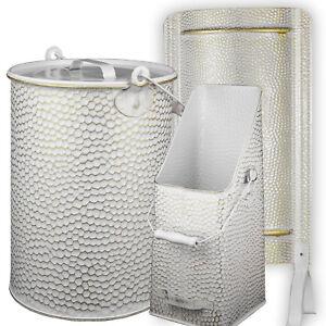Nostalgie Ofenschirm Hitzeschutz Metalleimer Koksschütter Kohlenschütte weiß/go