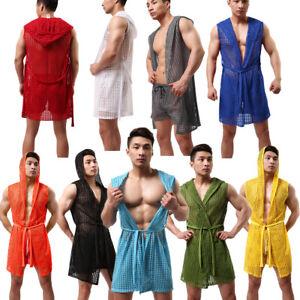 New Men's Sleeveless Bathrobe With Hood Sleepwear Pajamas Sexy Hollow Out S-XL