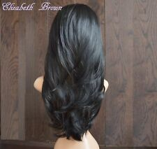 Beautiful Layers Off Black  Long Straight 3/4 Wig Hairpiece Half Wig 015-1b