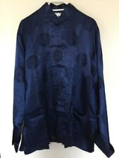 Vintage Navy Blue With Lucky Words Men's Chinese Style Coat  Size XL Brand New