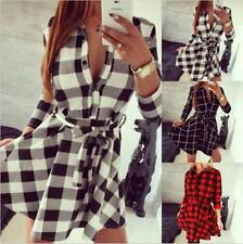 Womens Plaid & check Long Sleeve Slim Party Mini Tunic Shirt Dress With Belt LG