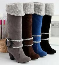 Women's Block High Heel Mid Calf Knee High Boots Casual Faux Suede Buckle Shoes