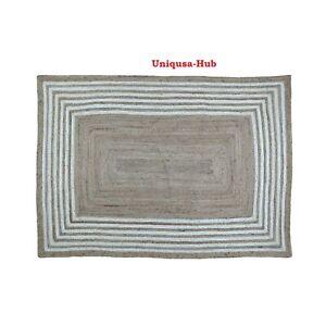 Rug 100% Natural Jute Braided Style Runner Carpet Reversible Living Area Rug