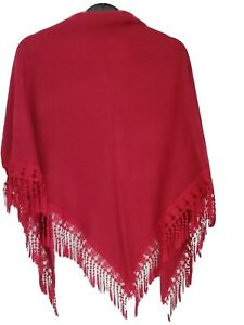 Ladies Shawl. Red. Spanish style. Lovely and warm for those chilly nights.