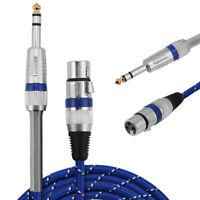 """XLR femelle à 1/4 """"câble de microphone de microphone audio stéréo"""