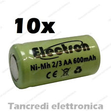 10x 2/3AA 1,2V 600mAh batteria Ni-Mh NiMh ricaricabile pila rechargeable battery