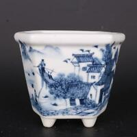Chinese Blue and White Porcelain Water Town Design Flowerpot Pot 4.49 inch