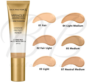 MAX FACTOR Miracle Second Skin Hybrid Foundation Coconut Oil SPF20 *ALL SHADES*