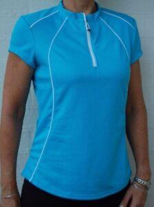 Cycling Bike Jersey Top cap Sleeve Women Ladies Blue D