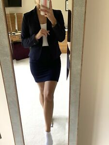 Navy blue lined tailored H&m Hm Suit Jacket Blazer And Skirt Size 10 Work Office