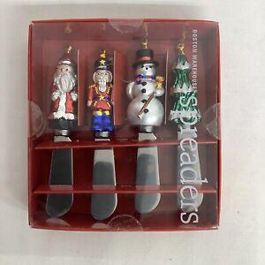 VTG Boston Warehouse Santa Holiday Christmas Snowman Pate Cheese Spreaders