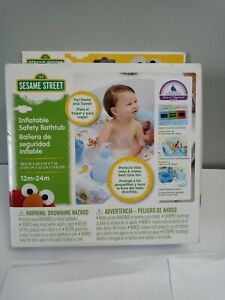 Sesame Street Inflatable Safety B Includes 2 Bumpers Fits Around Bathtub New