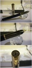 stilografica DUKE blue satin gold fountain Pen - Stylo Cover-crown - Nib F/M