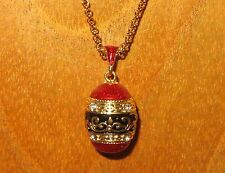 Russian FABERGE inspired RED BLACK motif ENAMEL & Swarovsky Crystals EGG pendant