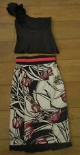 KAREN MILLEN Size 8 Black Pink Flower Floral Skirt Top Outfit Wedding Cocktail