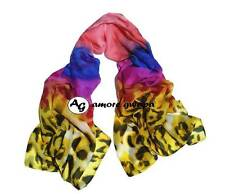 Silk Blend Leopard Long Large Scarf Scarves Shawl Wrap Warm Winter New Fuchsia