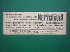 11/1931 PUB NETTERCUIR ROBERT NETTER VETEMENTS SPECIAUX MANTEAUX CUIR PILOTE AD