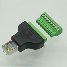 Ethernet RJ45 Male Plug To AV Screw Terminal 8pin Block Converter Adapter