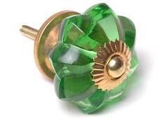 tiroir Boutons de porte d'ARMOIRE COMMODE vert en forme fleur coupe verre Brass