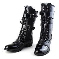 Men's Punk Lace Up Shoes Zipper Buckle Rock Combat Mid Calf Boots Gothic Casual