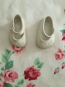 Doll Shoes Solid White Mary Jane Style Flowers on Toe Box Rubber Marked 14 Ideal