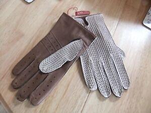 Dents Lancaster Crochet / Leather Driving Gloves ENGLISH SZ XL