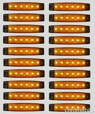 20 pcs 12V 6 LED Side Marker Orange Amber Indicator Light Lamp Truck Trailer Van