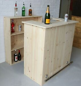 The Compact Champagne Home Bar micropub with stainless steel foot rail