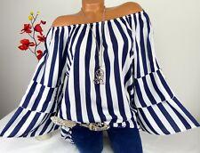 Bluse Shirt Hemd Tunika Carmen Trompetenärmel Hippie Oversize Viskose Weiß 44 46