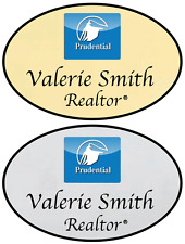 1 GOLD & 1 SILVER PRUDENTIAL REALTY PERSONALIZED NAME BADGES MAGNETIC FASTENER