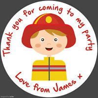 Personalised Round Stickers Fireman Birthday Party round labels party sheet