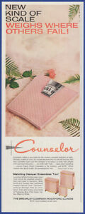 Vintage 1959 COUNSELOR Pink Bathroom Scale 50's Print Ad