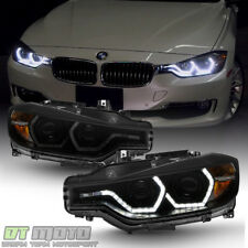 Black Smoke 2012-2015 BMW F30 328i 335i Sedan LED 3D DRL 2 Projector Headlights
