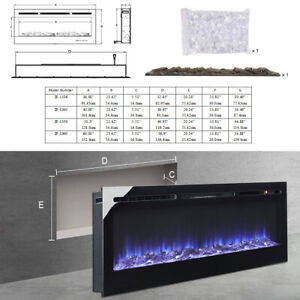 12 Flames Insert/Wall Mounted LED Fireplace Electric Fire Recessed Room Heater