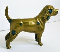 Vintage Figural Spaniel Dog Cast Iron Paperweight Brass Finish 5.5 in tall
