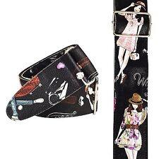 Multicoloured Fashion Girls Ladies Womens Modern Guitar Bass Strap Leather Feel