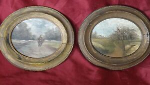 Pair of antique miniature oil paintings. Oil on Board Landscapes