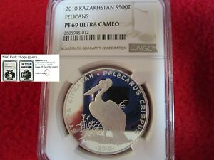 2010 KAZAKHSTAN SILVER DALMATIAN PELICAN PROOF NGC PCGS ICG ANACS africa PF69