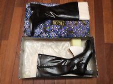 MOOTSIES TOOTSIES Black Synthetic Side Zip Chunky Heel Boots Sz 11M NeW IN BOX!!