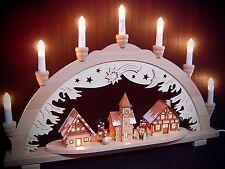 Arc à lumière à bougies 3D bonhomme de neige ville avec 2 figurines 57x38 cm