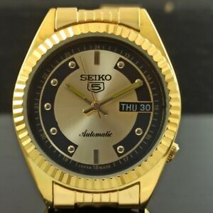 VINTAGE UNUSED SEIKO AUTOMATIC 6319A JAPAN MENS DAY/DATE GP WATCH 424-a236061-3