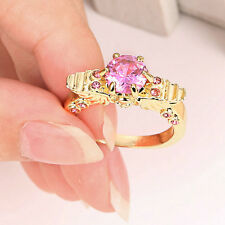 Size 9 Women's Pink Sapphire Engagement & Wedding Ring 10Kt  Yellow Gold Filled