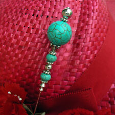 Hatpin With Turquoise Stone Color Beads - 8 inch Long - Silver Finish
