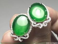 Cabochon Translucent Emerald Green Jadeite Jade 18K Gold Diamond Stud Earrings