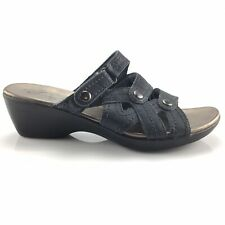 Clarks Bendables Womens Navy Leather Slip On Sandals 65172 Size 9M